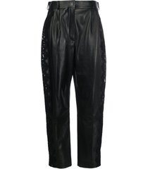 alexander mcqueen lace trim high-waisted trousers - black