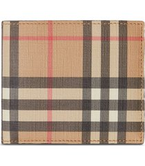 burberry vintage check international bifold coin wallet - brown