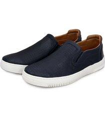 sapatenis iate br2 footwear conforto casual couro marinho - azul marinho - masculino - dafiti