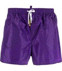dsquared2 monogram print swim shorts - purple