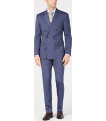 kenneth cole reaction men's ready flex slim-fit stretch denim blue stripe double breasted suit