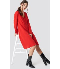 na-kd button up ls dress - red