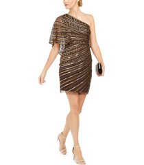 adrianna papell sequined one-shoulder sheath dress