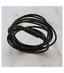 leather cord bracelet, 'dark rivers' (brazil)