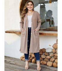 yoins plus size beige button design cardigan