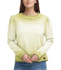 dkny cotton studded-logo ombre sweatshirt