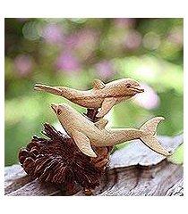 wood sculpture, 'dolphin harmony' (indonesia)