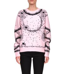 women's givenchy flower jacquard sweater, size large - pink