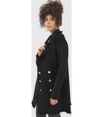 casaco trench coat lança perfume tricot recortes preto