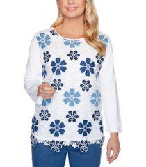 alfred dunner pearls of wisdom floral lace sweater
