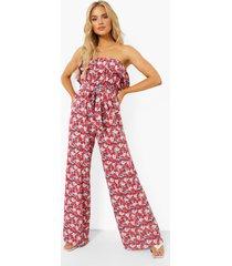 strapless bloemen wide leg jumpsuit met ceintuur, pink