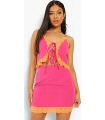 petite geweven hemdje met kanten zoom en strik, hot pink