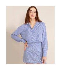 camisa cropped oversized listrada manga longa mindset azul