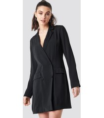 na-kd party double breasted blazer dress - black