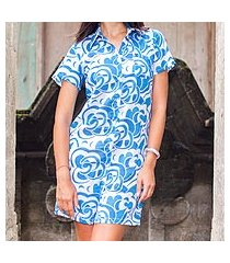 cotton long shirt, 'balinese shadow' (indonesia)