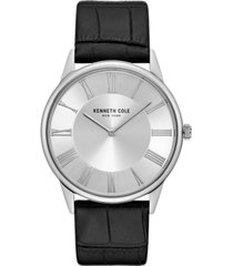 kenneth cole new york mens classic round black genuine leather strap watch 42mm