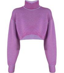 nagnata cropped rib-knit sweatshirt - purple