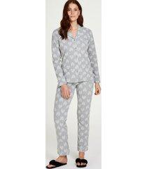 hunkemöller boyfriend heart pyjamasuppsättning grå