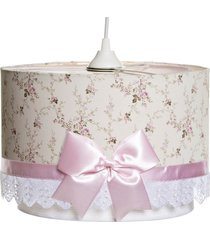 lustre tubular duplo com laço quarto bebê infantil potinho de mel rosa