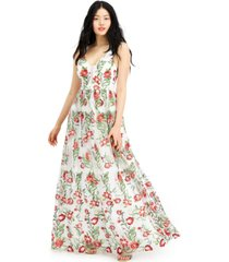 city studios juniors' floral embroidered gown, created for macy's