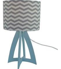 abajur de mesa crie casa base madeira azul bebê cúpula chevron