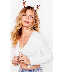 womens santa's favorite reindeer hair clips - brown