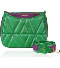bolsa tiracolo de couro dayana verde bandeira matelasse - tricae