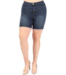 celebrity pink trendy plus size ultra high rise jean shorts