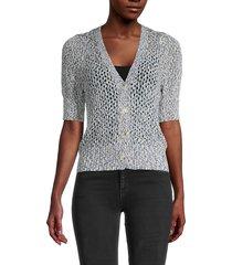 design 365 women's short-sleeve crochet cardigan - blue - size s