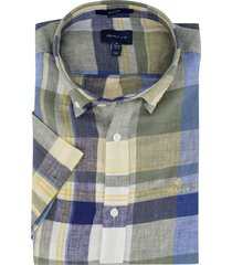 gant overhemd korte mouwen geruit geel blauw