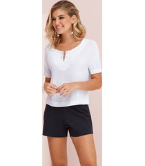 blusa manga curta viscose flamê detalhe piercing branca