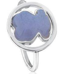 anillo camille de plata con calcedonia plateado tous