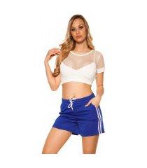 trendy shorts met strepen jaren 90 retro look koningsblauw