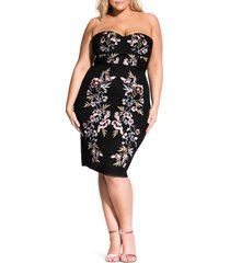 plus size women's city chic embroidered mesh strapless dress