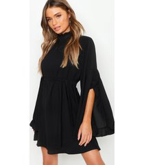 boho high neck wide sleeve shift dress, black