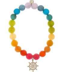 rainbow jade ship wheel bead bracelet