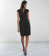 reiss harper dress - tailored dress in black, womens, size 12