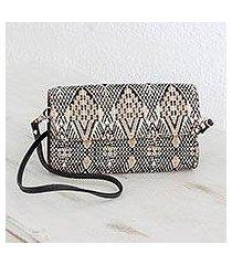 leather accent cotton mini clutch, 'sand waves' (guatemala)