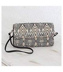 leather accent cotton mini clutch, 'sand waves' (guatemala)