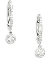 bridal 14k white gold & 0.30 tcw diamond hoop earrings