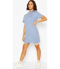 basic long line cotton t-shirt, blue