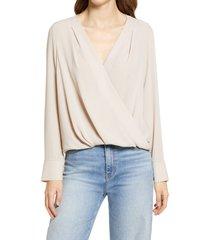 women's halogen cross front blouse, size large - brown