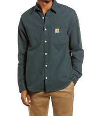 men's carhartt work in progress shirt jacket, size small - green