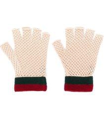gucci knitted fingerless gloves - neutrals