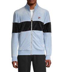 fila men's colorblock velour jacket - blue - size m