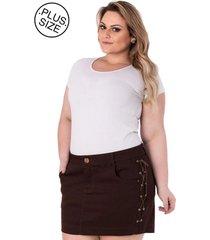 mini saia em sarja com trançado lateral plus size - confidencial extra