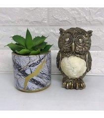 conjunto de vaso marmorizado cerã¢mico e coruja - dourado - feminino - dafiti