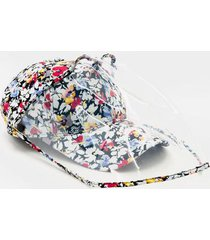 pattie floral pvc face shield hat - multi