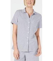 karen scott cotton seersucker shirt, created for macy's