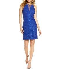 women's morgan & co. lace & sequin cocktail dress, size 10 - blue